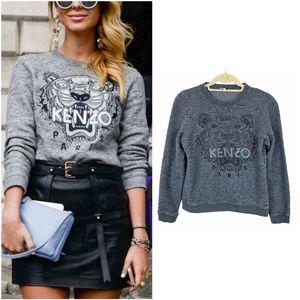 Kenzo Grey on Black Embroidered Tiger Sweatshirt